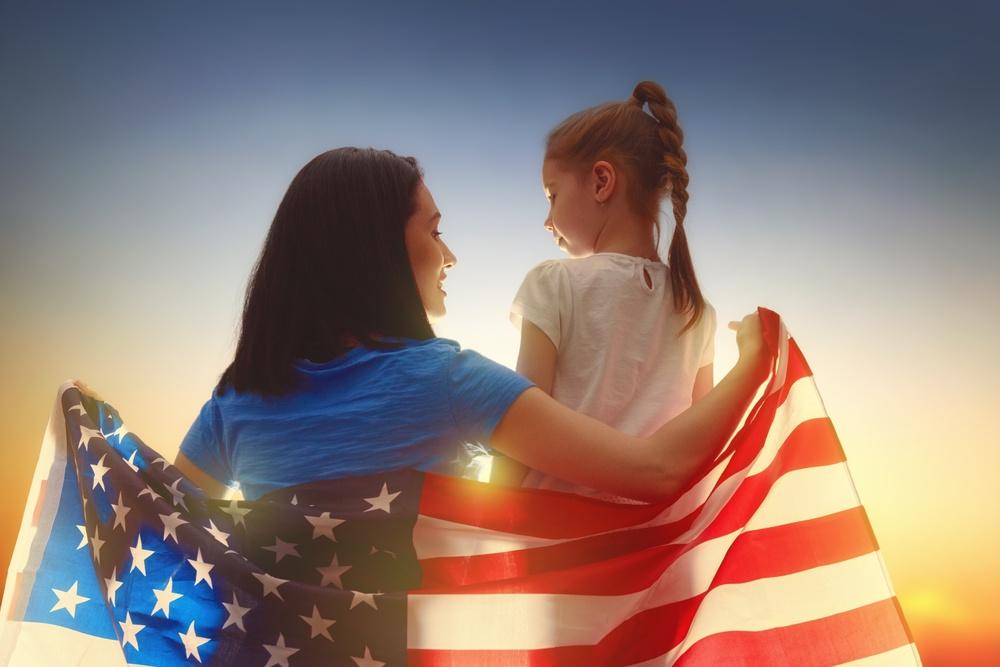 Patriotic holiday. Happy family