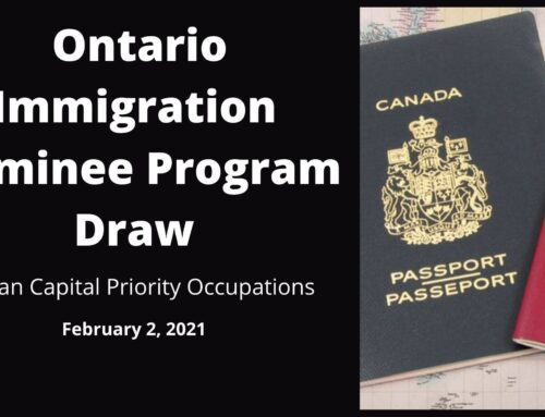 February 2, 2021 – Ontario Immigration Nominee Program Draw – Human Capital Priority Occupations