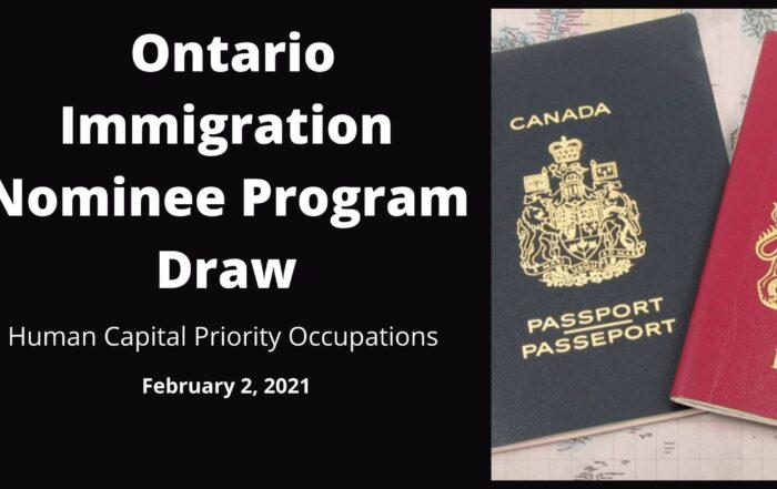 Ontario Immigration Nominee Program Draw